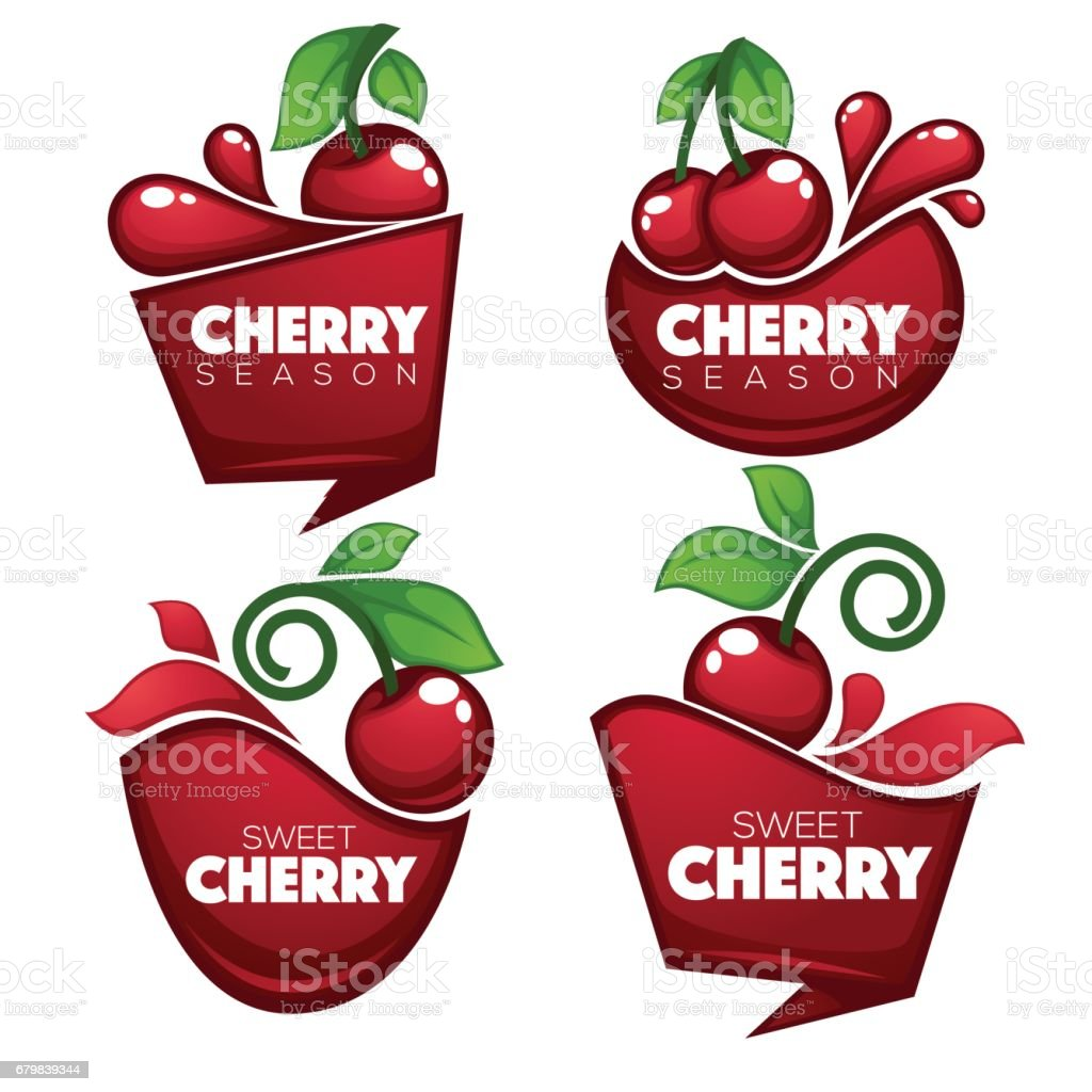 fresh juice stickers and cherry berry symbols stock vector art