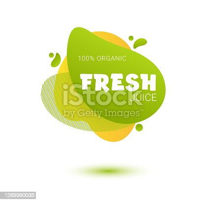 istock Fresh juice tag. Bright splash shiny stickers, organic emblems, tags and labels. For badges of fresh market, detox, farmers market, eco shop, smoothies drinks, juice cafe, green bar 1269990035