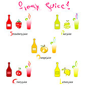 fresh juice vector illustration - artistic fruits with bottles and glasses