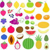 Fresh juicy healthy fruits set vector illustration. Vegetarian food.