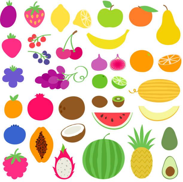bildbanksillustrationer, clip art samt tecknat material och ikoner med färska saftiga friska frukter set. - cactus lime