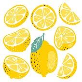 Lemon slices pattern on vibrant turquoise color background. Minimal flat lay food texture