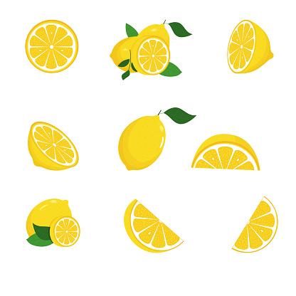 Fresh lemon fruits with green leaves. Set. Whole lemon cut in half, lemon slice, clipping path isolated on white background. Yellow. Citrus. Doodle Minimal style. Black line. Vector illustration.