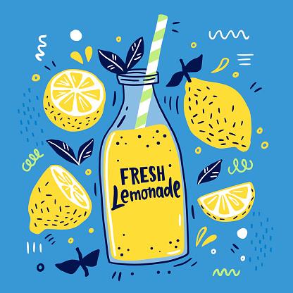 Fresh lemonade and it's ingredients.
