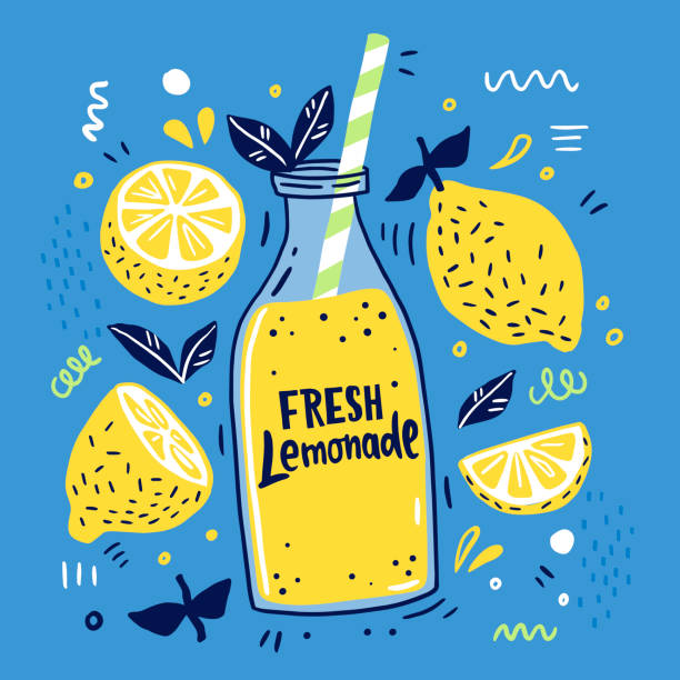 Fresh lemonade and it's ingredients. Fresh lemonade and it's ingredients. Lemon, lemon slice, mint and hand written text. Summer Doodle style lemon fruit stock illustrations