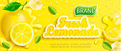 Fresh lemonade with lemon, splash, apteitic drops from condensation, fruit slice, ice cubes on gradient yellow background for brand, template,label,emblem and store,packaging,advertising.Vector