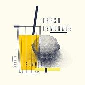 istock Fresh lemonade stylish poster, trendy graphics 698771264