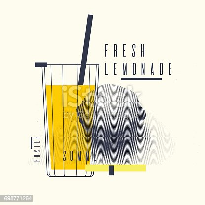istock Fresh lemonade stylish poster, trendy graphics 698771264