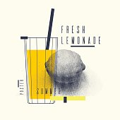 Fresh lemonade stylish poster, trendy graphics