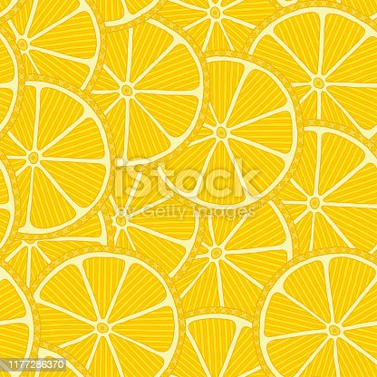 Seamless pattern with hand drawn lemon slices. Beautiful design elements, perfect for prints and patterns.