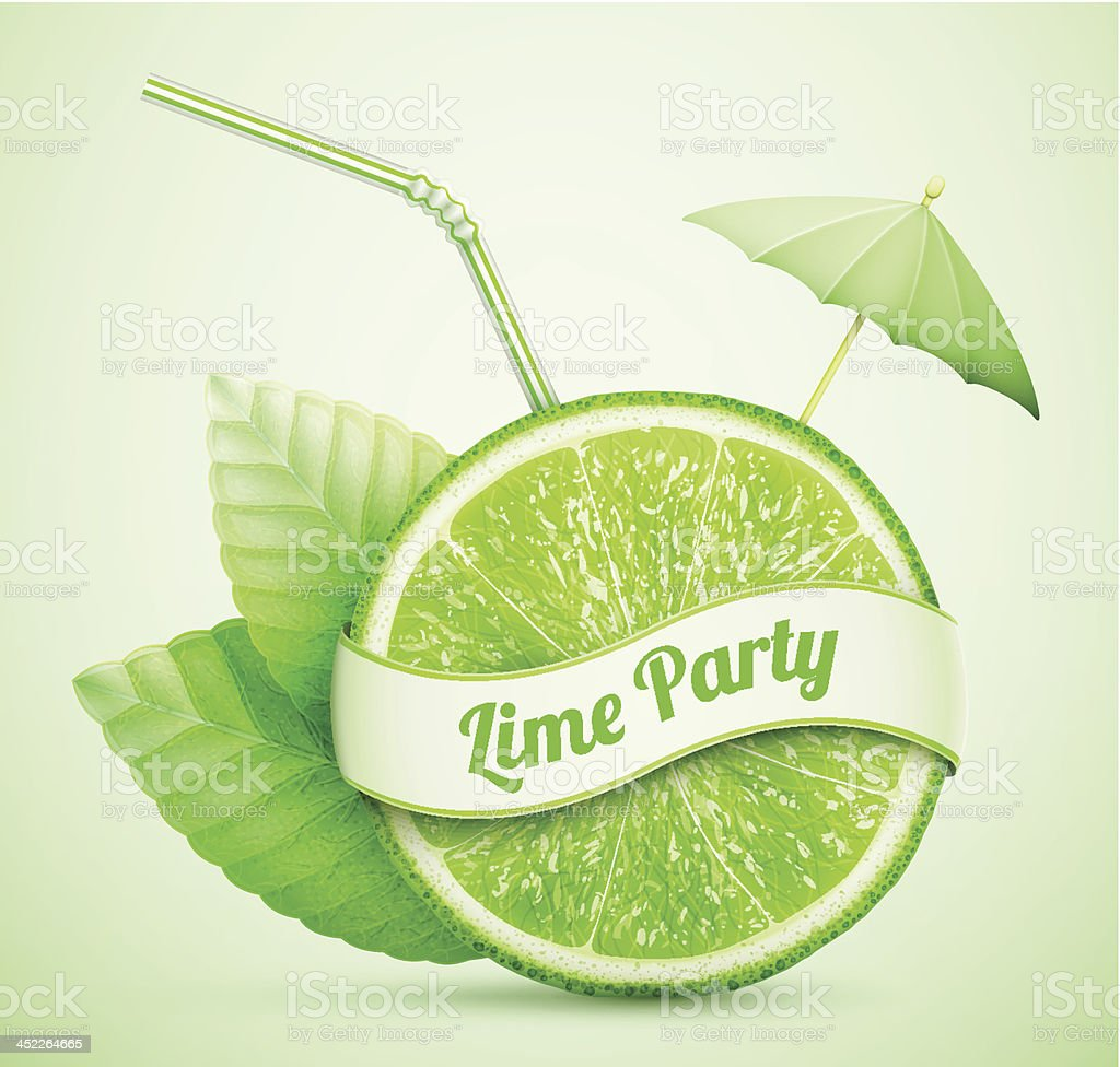 fresh lime with ribbon and cocktail stick royalty-free stock vector art