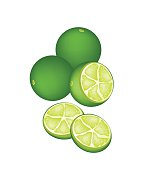 Fresh Limes and Half on White Background