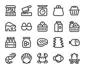Fresh Market Bold Line Icons Vector EPS File.