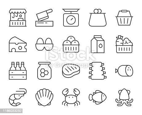 Fresh Market Light Line Icons Vector EPS File.