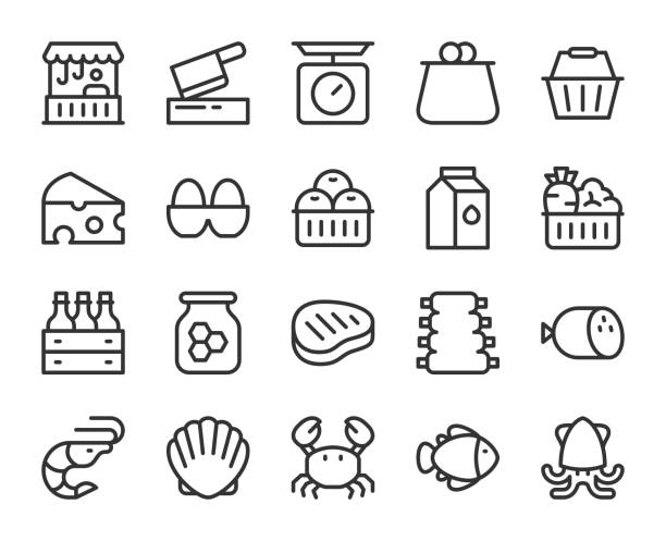 신선한 시장-라인 아이콘 - 바구니 stock illustrations