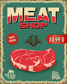 fresh meat. butcher shop. Vector illustration.