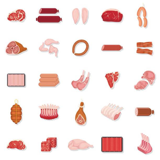 bildbanksillustrationer, clip art samt tecknat material och ikoner med färskt kött ikonuppsättning - korv