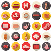 Assorted Meats Icon Set with long shadows