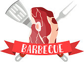 Fresh meat label. Pork, ham, barbecue fork, spatula. bbq party banner. Vector illustration in flat style