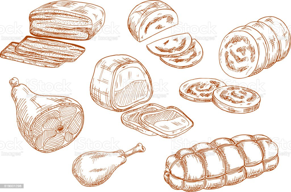 Fresh meat products sketches set vector art illustration