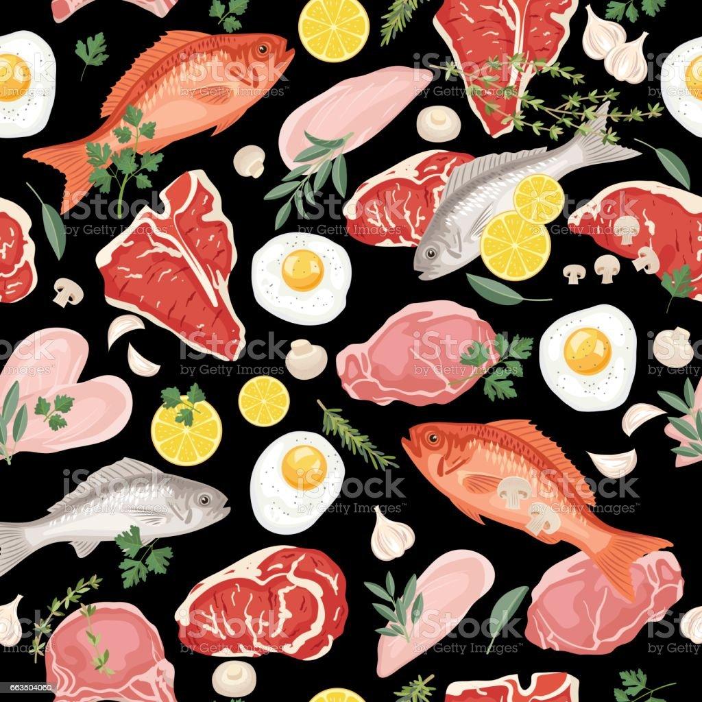 Patrón carnes, pescados y huevos fresco - ilustración de arte vectorial