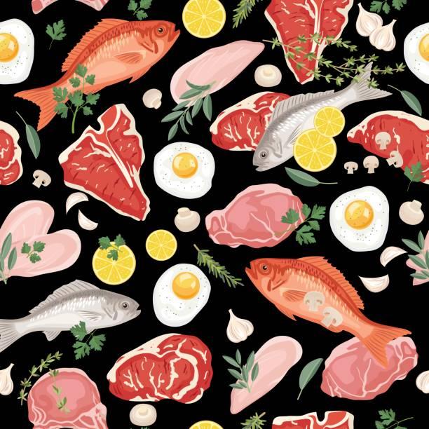 ilustraciones, imágenes clip art, dibujos animados e iconos de stock de patrón carnes, pescados y huevos fresco - comida cruda