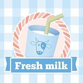 fresh milk bottle label on seamless pattern background