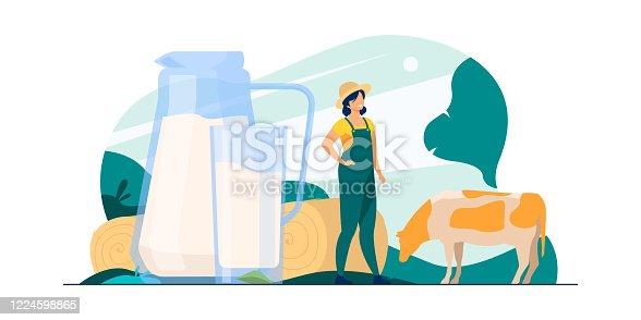 istock Fresh milk in glass jug 1224598865