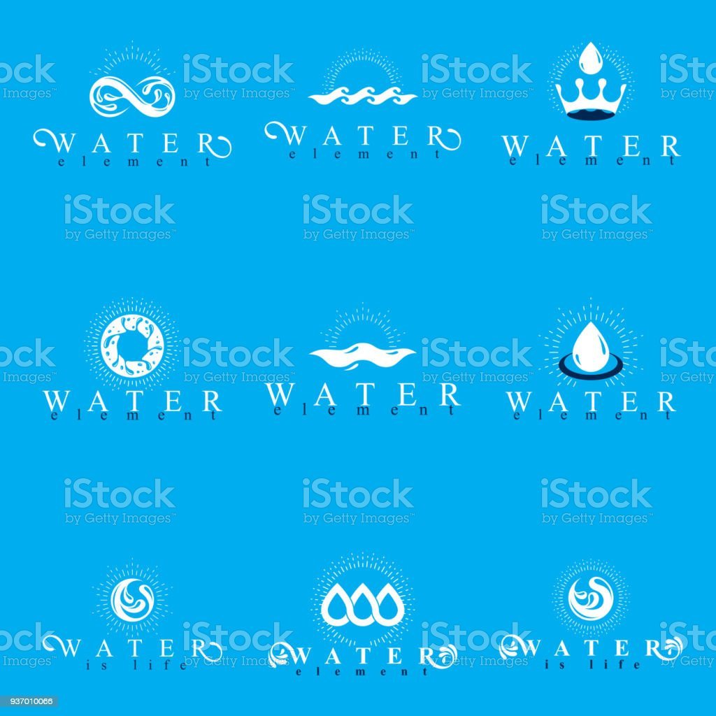 Fresh mineral water design emblems like water drops h2o symbols fresh mineral water design emblems like water drops h2o symbols wave splash and limitless biocorpaavc Image collections