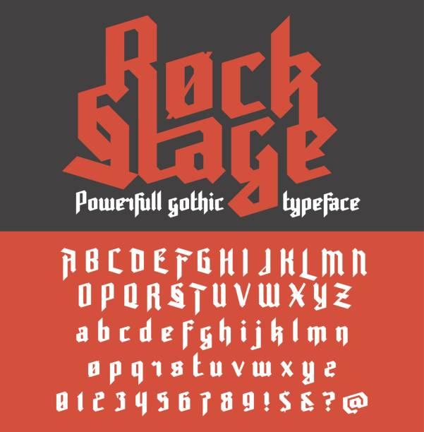 bildbanksillustrationer, clip art samt tecknat material och ikoner med färska nya kraftfulla gotiska typsnitt - rock stage - gotisk stil
