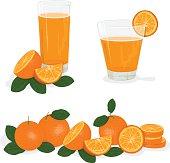 Fresh orange and glass with juice,  Splashing