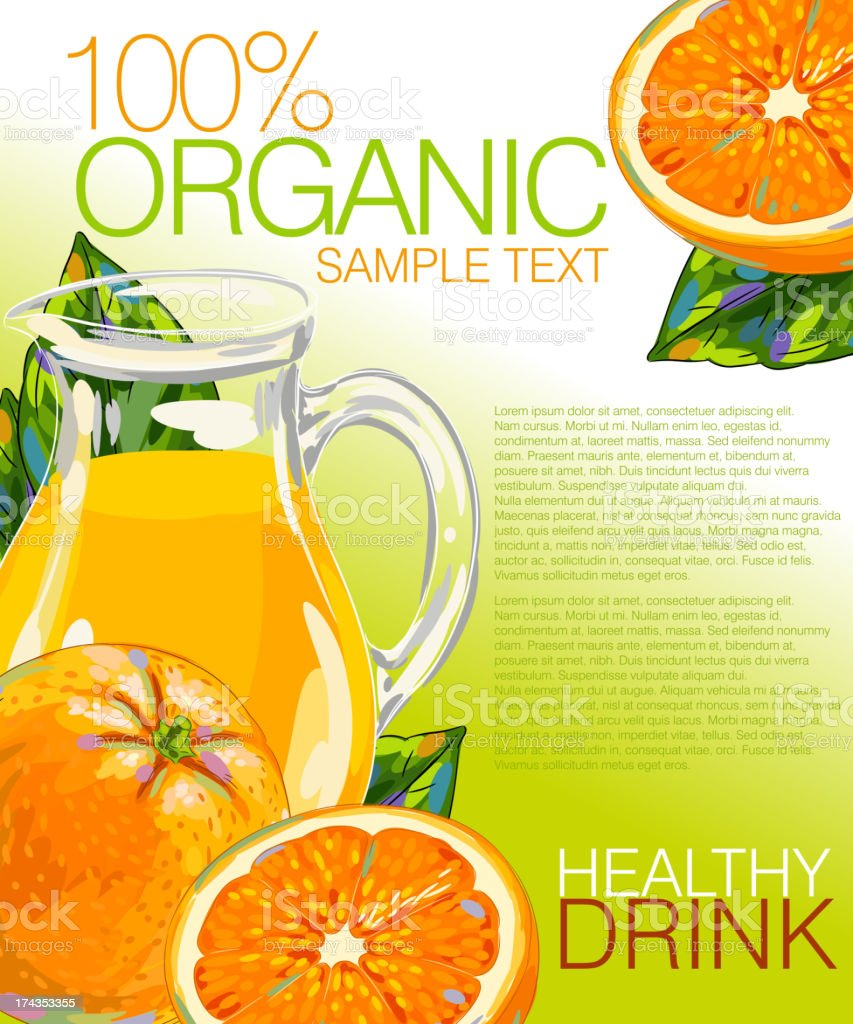 Fresh Orange and Juice royalty-free fresh orange and juice stock vector art & more images of advertisement