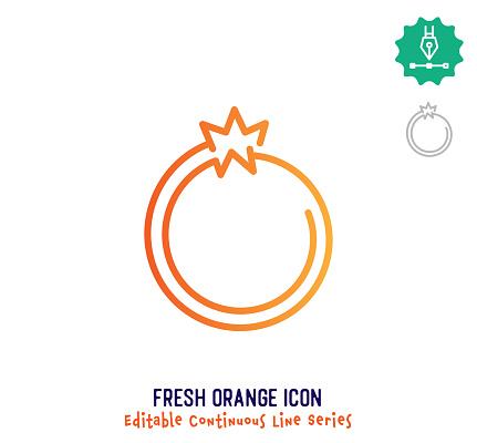 Fresh Orange Continuous Line Editable Stroke Line