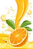 Fresh orange slice with splashing liquid, Natural Beverage Product Concept for, Vector illustration
