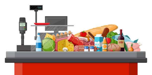 illustrazioni stock, clip art, cartoni animati e icone di tendenza di fresh organic food and drinks. - banchi di pesci