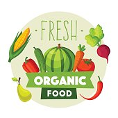 Fresh organic food. Eco vegetables and fruits. Cartoon vector illustration. Farm set. For logo and poster