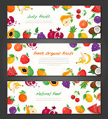Fresh organic fruit - set of modern colorful vector illustrations with place for your text. A collection of three high quality templates with banana, watermelon, cherry, apple, grape, coconut, lemon