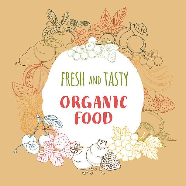 ilustrações, clipart, desenhos animados e ícones de orgânicos frescos primavera verão frutas e legumes quadro. - fruit salad