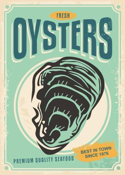新鮮牡蠣復古海報設計 - 鄉愁 幅插畫檔、美工圖案、卡通及圖標