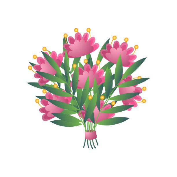 stockillustraties, clipart, cartoons en iconen met vers roze geel bloomy exotisch bloemboeket met lint dat op wit wordt geïsoleerd - meeldraad