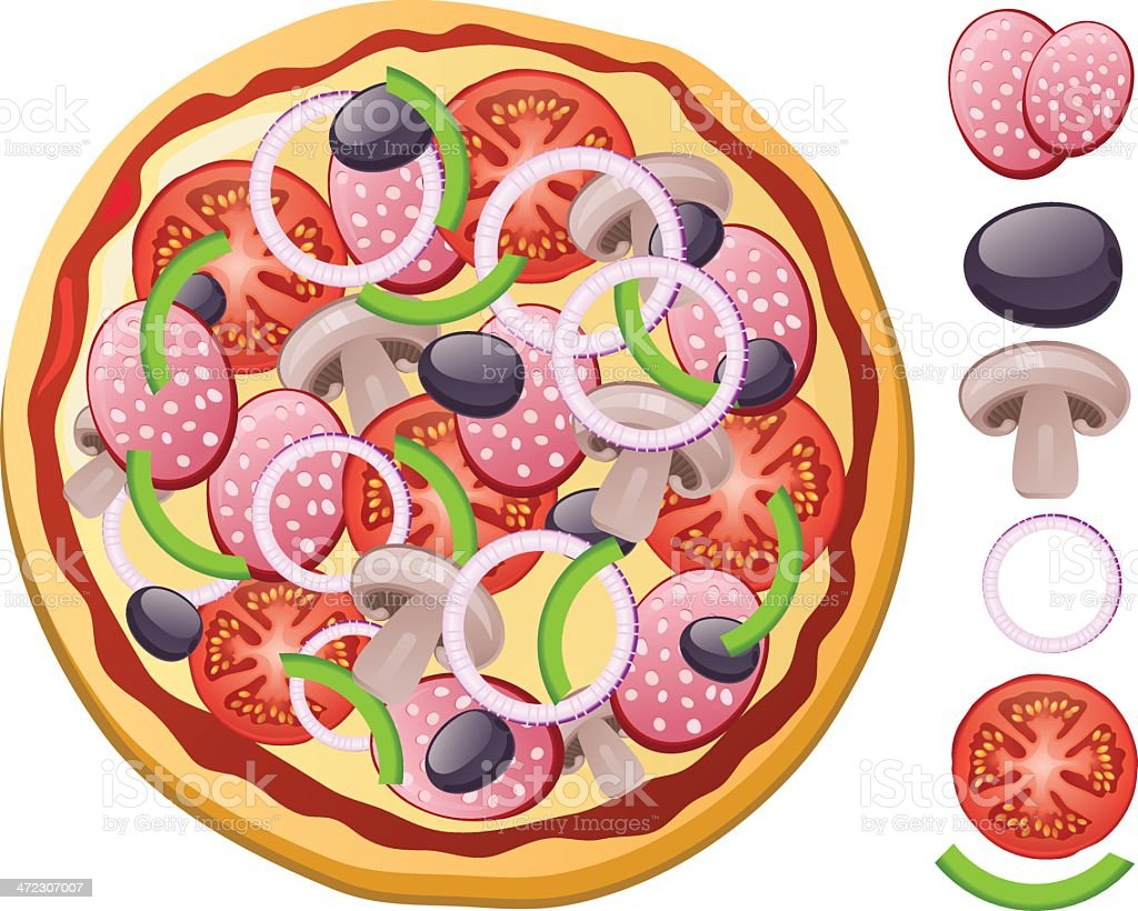 Fresh Pizza Toppings stock vector art 472307007 | iStock