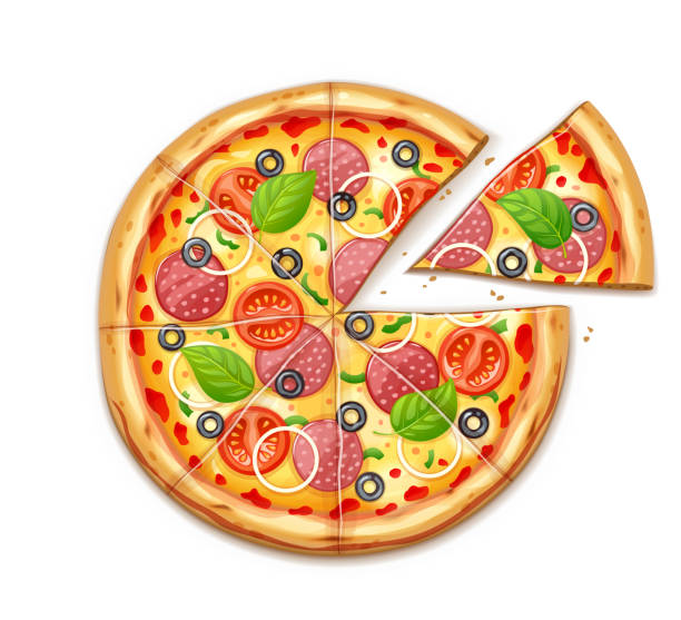 Fresh pizza with tomato, cheese, olive, sausage, onion vector art illustration