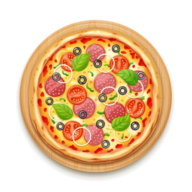 ilustraciones, imágenes clip art, dibujos animados e iconos de stock de pizza fresca con tomate, queso, aceituna, salchicha, cebolla - pizza
