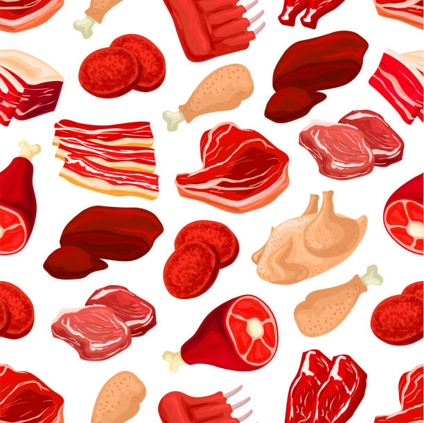 Fresh pork and beef meat seamless pattern vector art illustration