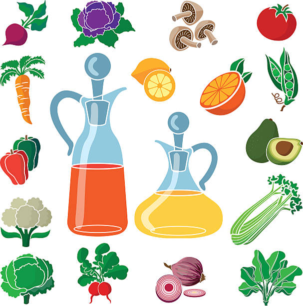 frische zutaten für eine gesunde salat mit öl und essig. - dressing stock-grafiken, -clipart, -cartoons und -symbole