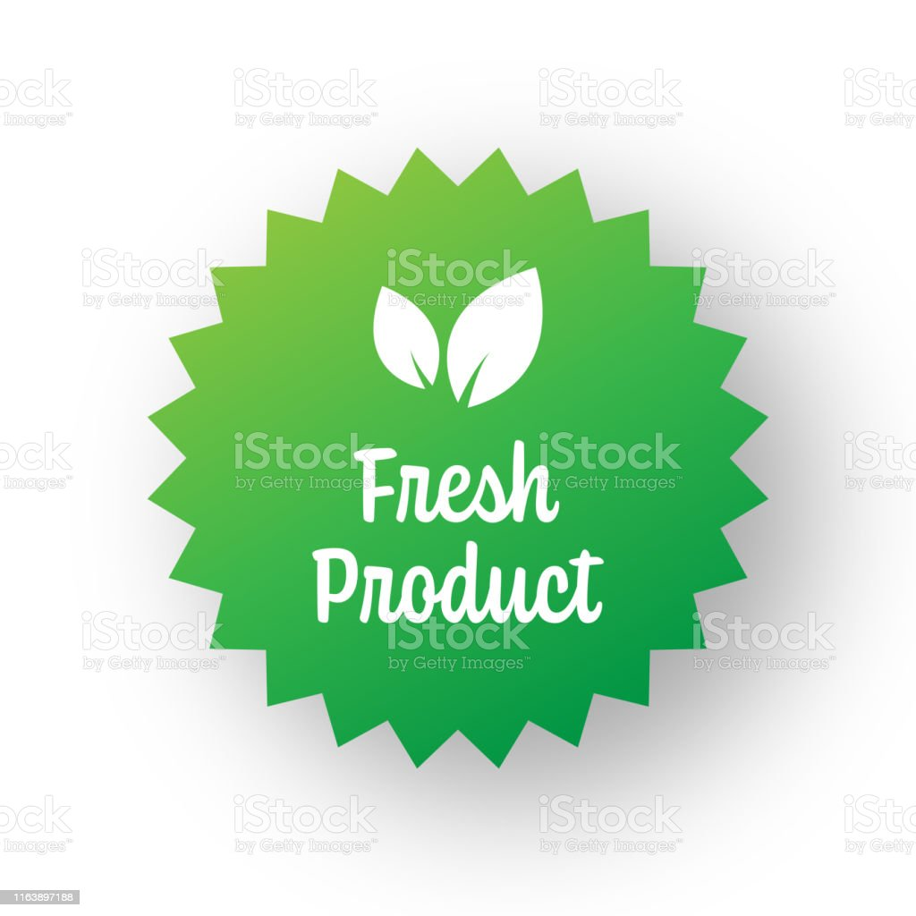 Fresh Product Badge Template. Label Badge with Leaves. Organic...