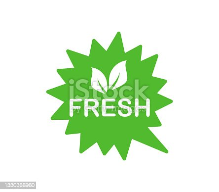istock Fresh product label. Farm Fresh logo for organic food. Green emblem for use in the food industries. Vector illustration. 1330366960