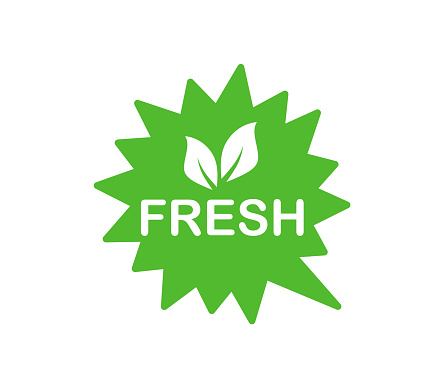 Fresh product label. Farm Fresh logo for organic food. Green emblem for use in the food industries. Vector illustration.