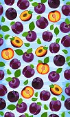 Fresh purple plum seamless pattern, slices, pits, leaves, core. Set of fruits. Vector illustration on grunge blue background