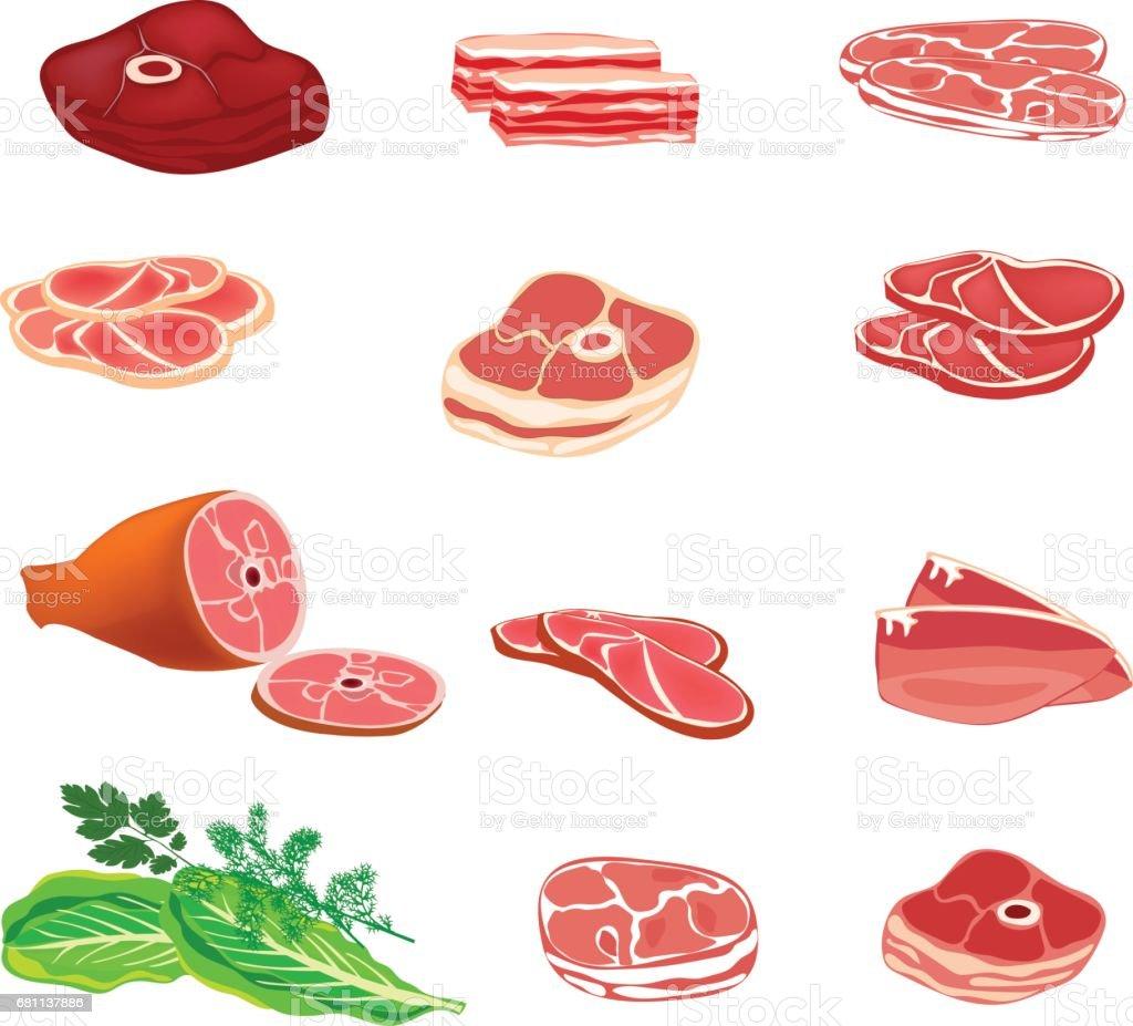 新鮮な生の肉。肉製品はベクター アイコン セットです。ベクトルの図。 ベクターアートイラスト